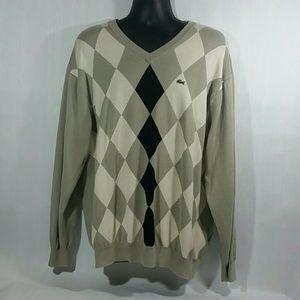 Lacoste Argyle Pullover Sweater V neck Mens